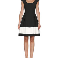 Fendi Cap-Sleeve Colorblock Gazar Dress