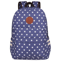 Star Printed Canvas School Backpack