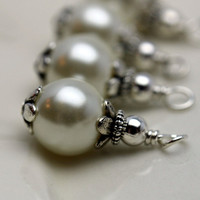 Vintage Style White Glass Pearl with Silver Bead Dangle Charm Set