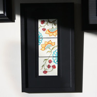 Contemporary Jacobean Flower Watercolor Painting, Framed