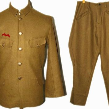 WWII JAPANESE OFFICER WOOL FIELD MILITARY UNIFORM TUNIC BREECHES IN SIZES - World military Store