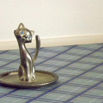 Silver Cat Jewelry Holder with Rhinestone Blue Eyes, Vintage Ring Tray
