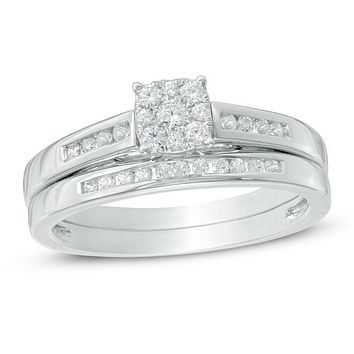 1/3 CT. T.W. Composite Diamond Bridal Engagement Ring Set in 14K White Gold