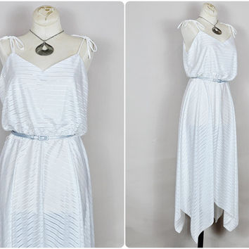 sheer moonglow white striped tie shoulder assymetric hanky hem disco grecian goddess maxi dress vintage 1970s