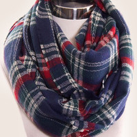 Navy Plaid Scarf 2