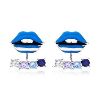 Blue Lips Crystal Detail Earrings