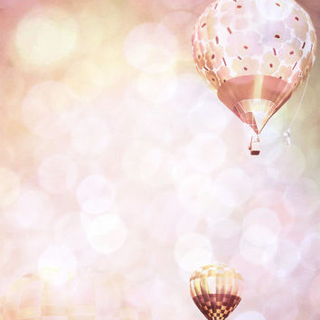 Hot Air Balloons Photography Print 11x14 Fine Art Pink Dreamy Sky Nursery Landscape Photography Print.