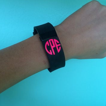 Fitbit Flex Monogram Decal Fitbit Charge Monogram Decal - Set of 3 - Workout - Neon Pink - Workout Decal - Workout Monogram - Flex - Charge