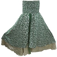 Womens Maxi Skirt Vintage Silk Sari Olive Green Two layered Beach Dress