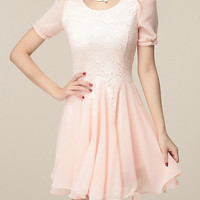 Pink Scoop Neck Mini Chiffon Dress