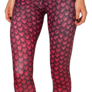 Happy Cool Women's High Waist Dark Red Dragon Scales Printed Ankle Elastic Tights Legging