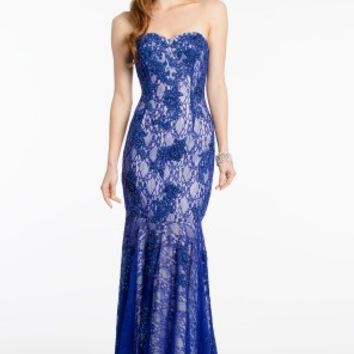 Strapless Lace Dress with Sweep Train