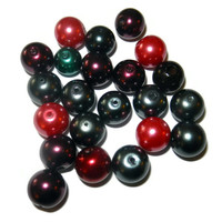 10 mm and 8 mm Glass Pearls, Grey, Green, Purple Pink
