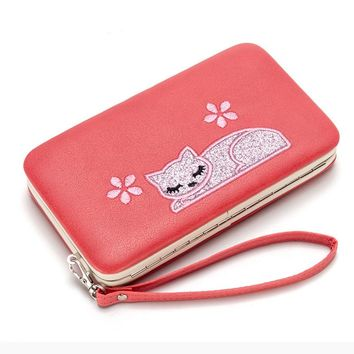 Cat Card Leather Wallet Case For iPhone 7 6 Plus 5S Phone Bag Case Women Wallet Purse Card Holder Universal For Samsung S8 Case