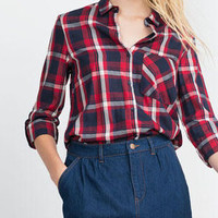 Red Plaid Pocket Detail Roll-up Sleeve Dipped Hem Shirt