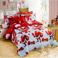 3d Bedding Sets Queen/King Size Bed Linen Bed Sheet Christmas Duvet Cover 4/3 Pcs