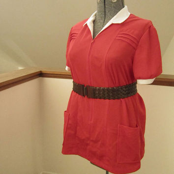 1970s Sears Red Top with White Collar and Pockets, X-Large
