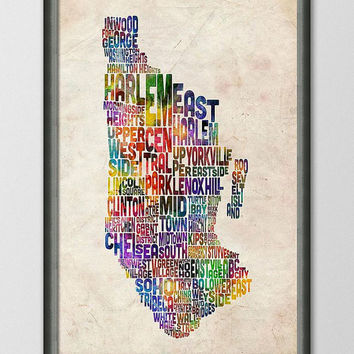 Manhattan New York Typographic Map Art Print 18x24 by artPause