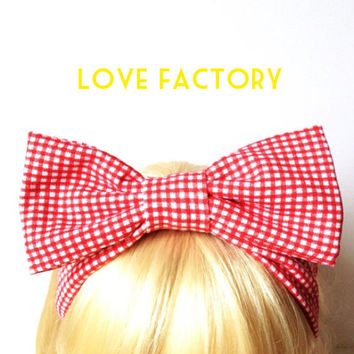 Lovely retro vintage gingham check red white bow headband :) Love Factory By Rie Miyamoto