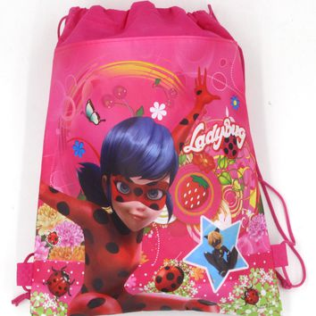 12Pcs Miraculous Ladybug Cat Noir Boys Girls Cartoon Kids Drawstring Printed Backpack Shopping School Traveling Bags Party Gifts
