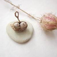 Miniature nest with two swallows, native wall art