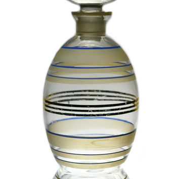 Glass Decanter with Blue and Gilded Bands and Mushroom Stopper, Antique Art Deco English, 1920s