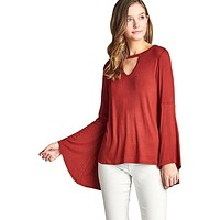 Keyhole Bell Sleeve Top - Spicy Rust