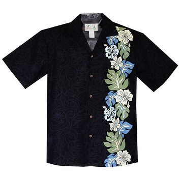 Surfer Hibiscus Black Vertical Border Hawaiian Shirt