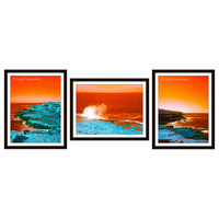 Ocean photography Sydney Australia, Set of 3 digitally altered orange and blue color contrast, nature photography, fine art home decor, dorm