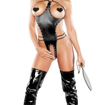 Medusa Faux Leather Cupless and Crotchless Teddy