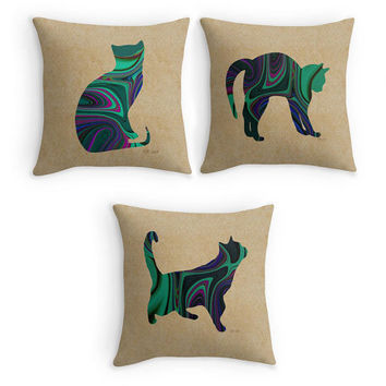 Cat Scatter Cushion, Green Patterned Throw Pillows,16x16, Colourful Cats Decor, Cat Owners Gift