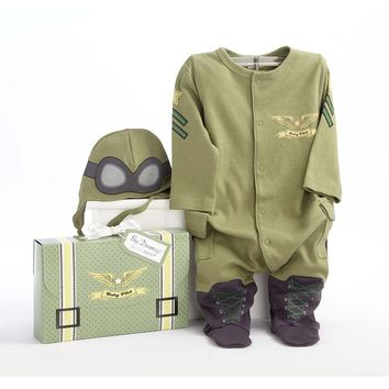 Baby Aspen Big Dreamzzz ''Baby Pilot'' Bodysuit Gift Set - Baby, Size: 0-6 MONTHS (Green)