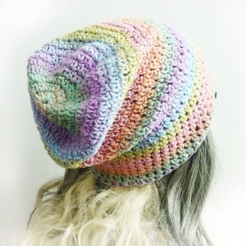 Pink Slouchy Beanie Unicorn Tears Pastel Rainbow Womens Girls hat Soft Crochet slouch gaming beanie hat pink yellow blue lilac mint