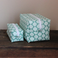 Large Lined Makeup & Cosmetic Bag // Travel Bag // Merletto Mint with White Dot Lining
