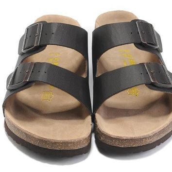 2017 New Fashion Birkenstock Summer Fashion Leather Cork Flats Beach Lovers Slippers C