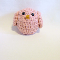 Baby Shower gift Crocheted Bird organic cotton Pink Nursery Decor, Photo Prop, Desk Ornament, Window Ledge, Book Shelf Decor, Secretary Gift