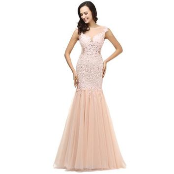 Mermaid Pink Tulle Scoop Beaded Prom Dress Floor Length Applique Prom Dresses
