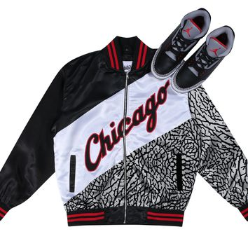 Jordan Retro 3 Black Cement Bomber Jacket - LACED UP