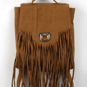 Suede Fringe Backpack