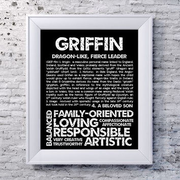 GRIFFIN Personalized Name Print / Typography Print / Detailed Name Definitions / Numerology-calculated Destiny Traits / Educational