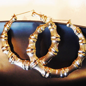 Exaggerated Gold Bamboo Big Hoop Circle Earrings Ultra Light Weight