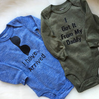 Baby boy body suit, got it from my daddy, baby boy arrival shirt, boys clothing, long sleeve body suit with snaps
