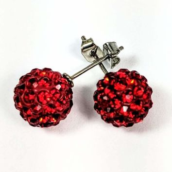 Shamballa Fire Red Crystals Stainless Steel Stud Earrings