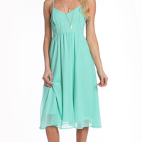 BUSTIER CHIFFON SPAGHETTI DRESS - MINT