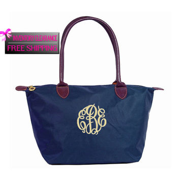 CLEARANCE + FREE SHIPPING Navy Blue Designer Inspired Shoulder Bag / Long Arm Medium Tote Free Monogramming With Purchase