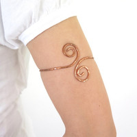 Copper upper arm cuff, simple spiral armlet, hammered tribal armband