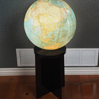 1976 National Geographic Globe Lamp with Smoked Lucite Stand
