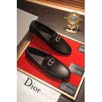 DIOR High Quality Popular Men Comfortable Leather Shoes Black