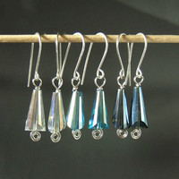 Silver earrings, sterling silver jewelry, crystal earrings, christmas gift, transparent, blue, smokey colors
