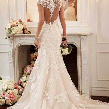 Sexy See Through Back Mermaid Wedding Dresses Lace Appliqued Vestido de noiva sereia Wedding Gowns Mermaid  Robe de mariage